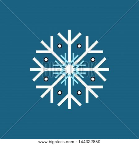 White blue black winter snowflake on blue background. End of year christmas and sale season.