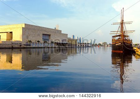 CARTAGENA COLOMBIA - MAY 26: Pirate ship next to the convention center in Cartagena Colombia on May 25 2016