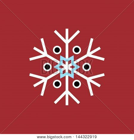 White blue black winter snowflake on red background. End of year christmas and sale season.