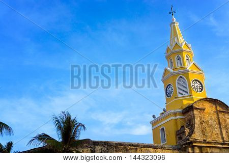 View of the clock tower gate with a beautiful blue sky in Cartagena Colombia