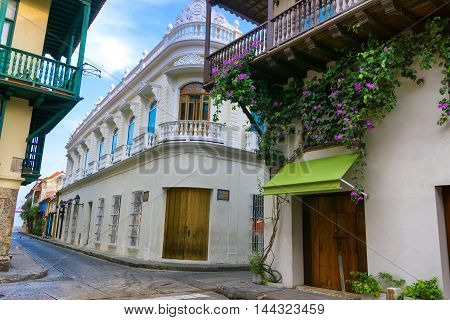 Street corner of beautiful colonial architecture in Cartagena Colombia