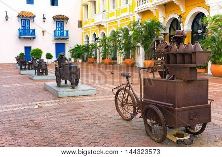 CARTAGENA COLOMBIA - MAY 25: Plaza full of sculptures in Cartagena Colombia on May 25 2016