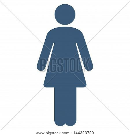 Girl icon. Glyph style is flat iconic symbol with rounded angles, blue color, white background.