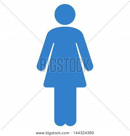 Lady icon. Glyph style is flat iconic symbol with rounded angles, cobalt color, white background.