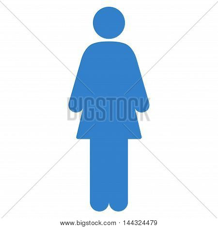 Woman icon. Glyph style is flat iconic symbol with rounded angles, cobalt color, white background.