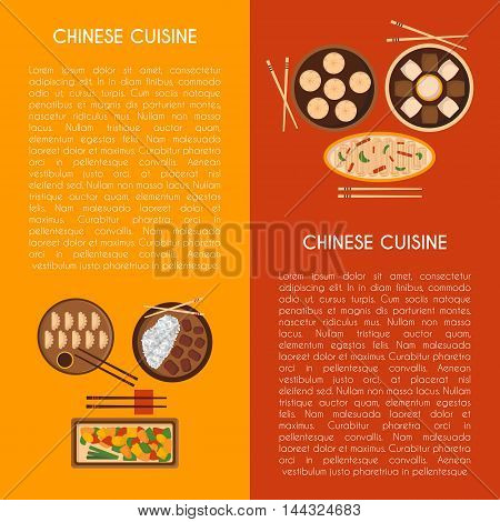 Vector illustration with cartoon cute chinese cuisine food: chicken kung pao wonton soup chow mein mantons. Traditional chinese food. Great for restaurant cafe menu. Cartoon food plate top view