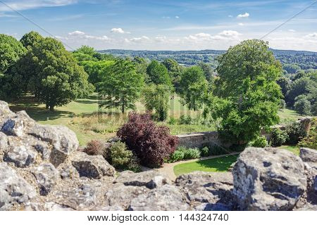 Views from Farnham Castle in Surrey over Farnham town