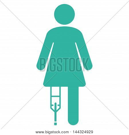Patient Woman icon. Glyph style is flat iconic symbol with rounded angles, cyan color, white background.