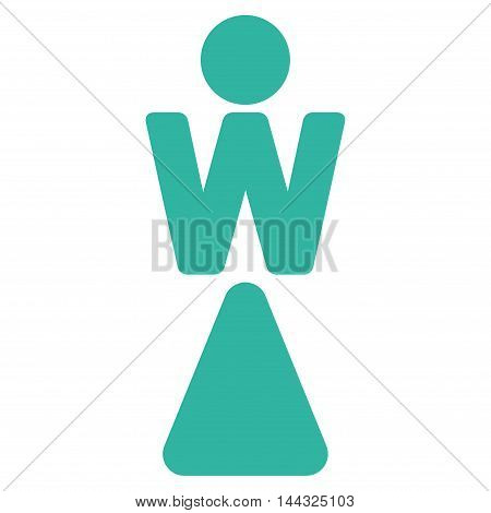 Lady icon. Glyph style is flat iconic symbol with rounded angles, cyan color, white background.