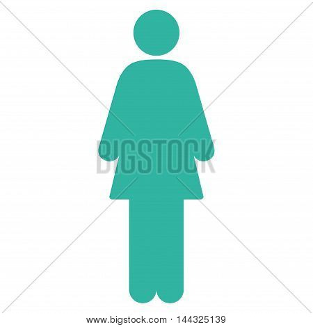 Girl icon. Glyph style is flat iconic symbol with rounded angles, cyan color, white background.