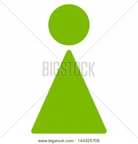 Female icon. Glyph style is flat iconic symbol with rounded angles, eco green color, white background.