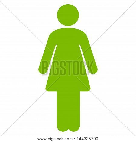 Lady icon. Glyph style is flat iconic symbol with rounded angles, eco green color, white background.