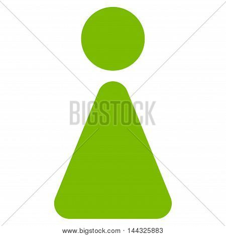 Woman icon. Glyph style is flat iconic symbol with rounded angles, eco green color, white background.