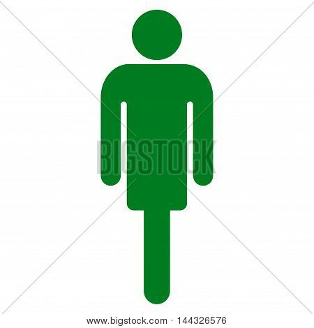 Guy icon. Glyph style is flat iconic symbol with rounded angles, green color, white background.