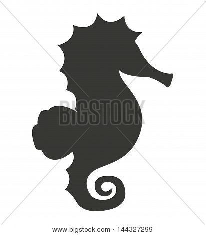 sea horse silhouette isolated icon vector illustration design