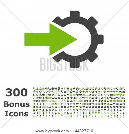 Cog Integration icon with 300 bonus icons. Vector illustration style is flat iconic bicolor symbols, eco green and gray colors, white background.