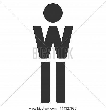 Woman icon. Glyph style is flat iconic symbol with rounded angles, gray color, white background.