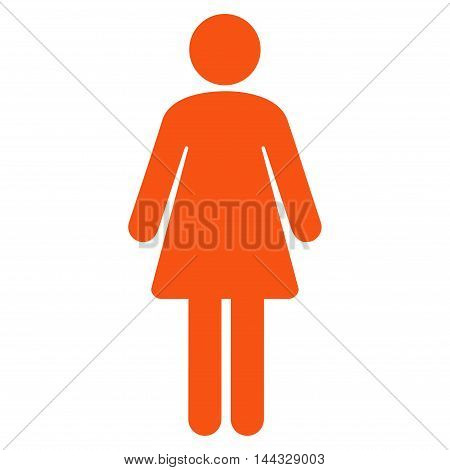 Girl icon. Glyph style is flat iconic symbol with rounded angles, orange color, white background.