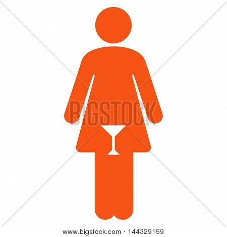 Lady icon. Glyph style is flat iconic symbol with rounded angles, orange color, white background.