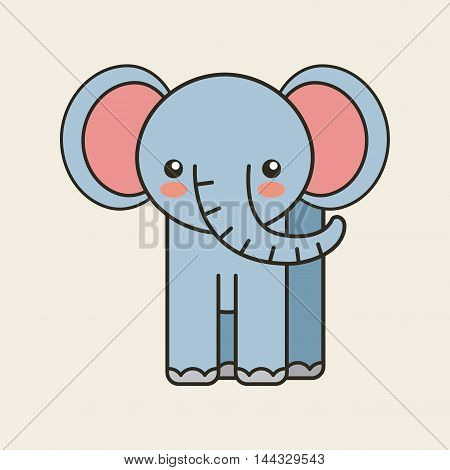 cute elephant tender isolated icon vector illustration design