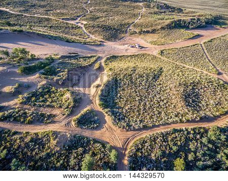 off road trails on sand dunes at North Sand Hills, only place in Colorado to legally ride on sand dunes - aerial view