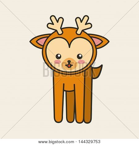 cute reindeer tender isolated icon vector illustration design