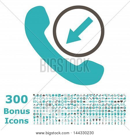 Incoming Call icon with 300 bonus icons. Vector illustration style is flat iconic bicolor symbols, grey and cyan colors, white background.