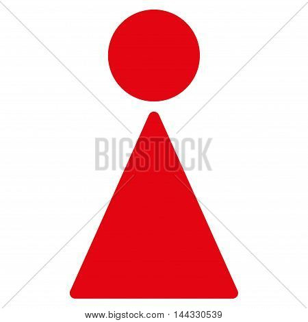 Lady icon. Glyph style is flat iconic symbol with rounded angles, red color, white background.