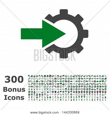 Cog Integration icon with 300 bonus icons. Vector illustration style is flat iconic bicolor symbols, green and gray colors, white background.