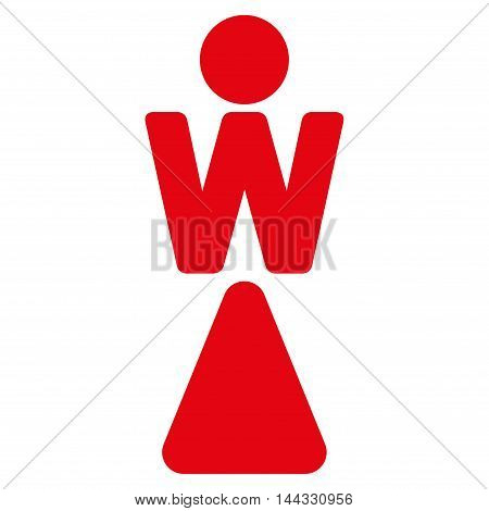 Woman icon. Glyph style is flat iconic symbol with rounded angles, red color, white background.