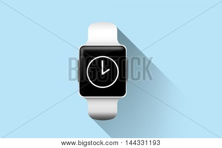 modern technology, object and time concept - close up of smart watch with clock icon on screen over blue background