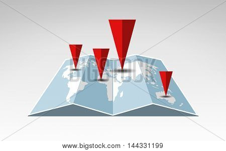 travel, cartography, location, navigation and geography concept - illustration of world map with red pointers