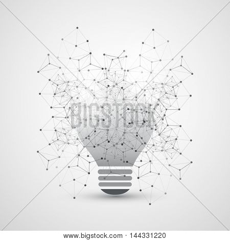 Abstract Cloud Computing and Global Network Connections Concept Design with Light Bulb, Transparent Geometric Mesh - Illustration in Editable Vector Format