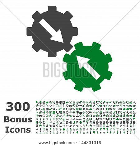 Gear Integration icon with 300 bonus icons. Vector illustration style is flat iconic bicolor symbols, green and gray colors, white background.