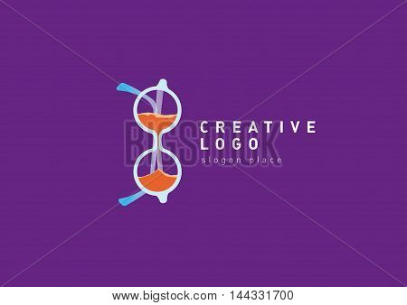 the development of creative glasses logo and hourglass