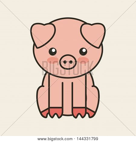 cute pig tender isolated icon vector illustration design