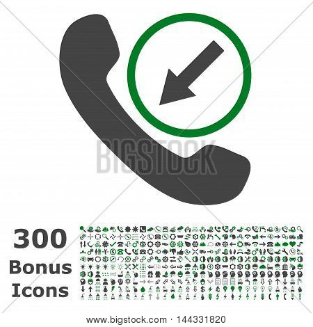 Incoming Call icon with 300 bonus icons. Vector illustration style is flat iconic bicolor symbols, green and gray colors, white background.