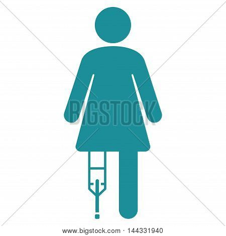 Patient Woman icon. Glyph style is flat iconic symbol with rounded angles, soft blue color, white background.