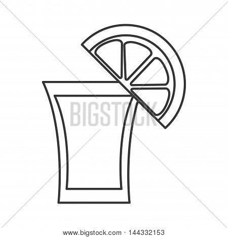 tequila shot lemon cocktail mexican celebration icon. Flat and isolated design. Vector illustration