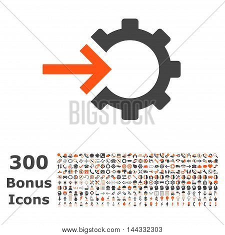 Cog Integration icon with 300 bonus icons. Vector illustration style is flat iconic bicolor symbols, orange and gray colors, white background.