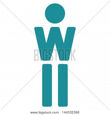 Female icon. Glyph style is flat iconic symbol with rounded angles, soft blue color, white background.