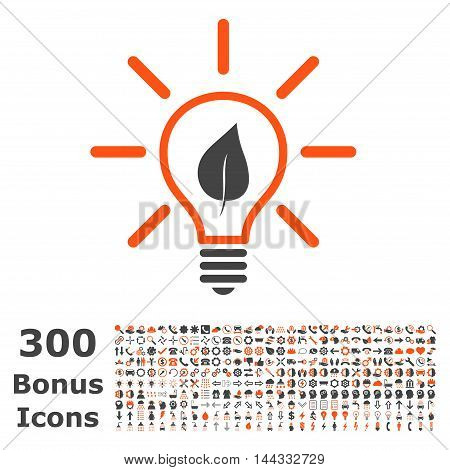 Eco Light Bulb icon with 300 bonus icons. Vector illustration style is flat iconic bicolor symbols, orange and gray colors, white background.