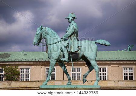 Equestrian statue of Christian IX near Christiansborg Palace Copenhagen Denmark