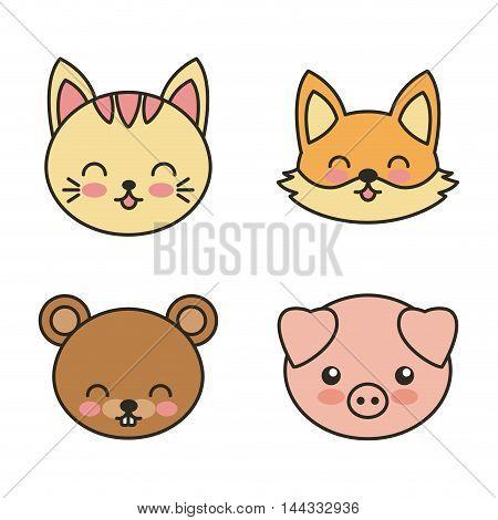 set animals cute tender isolated icon vector illustration design