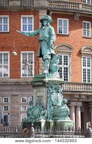 Statue Danish-Norwegian admiral Niels Juel in Copenhagen Denmark