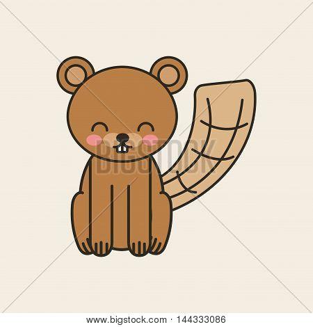 cute beaver tender isolated icon vector illustration design