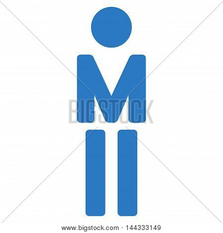 Male icon. Glyph style is flat iconic symbol with rounded angles, smooth blue color, white background.