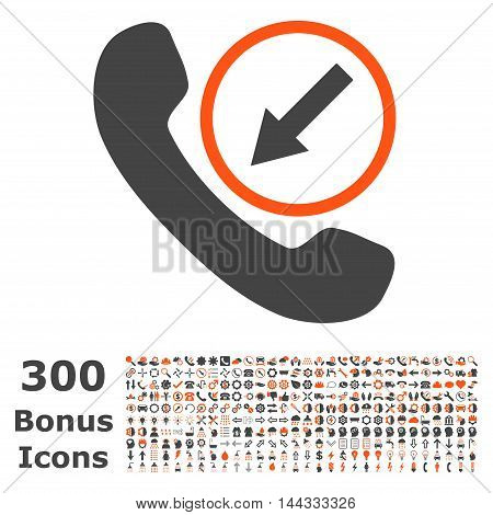 Incoming Call icon with 300 bonus icons. Vector illustration style is flat iconic bicolor symbols, orange and gray colors, white background.
