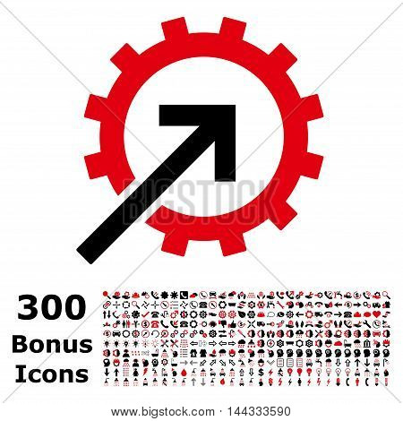 Cog Integration icon with 300 bonus icons. Vector illustration style is flat iconic bicolor symbols, intensive red and black colors, white background.