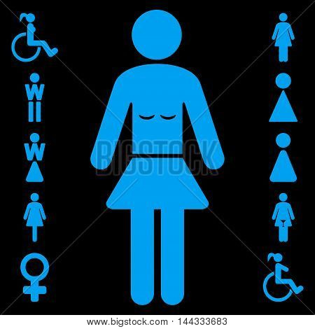 Lady icon. Glyph style is flat iconic symbol, blue color, black background.